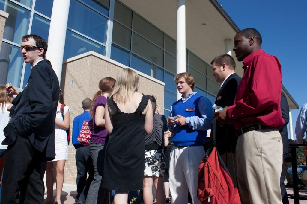 Students gather outside of the Fine Arts Complex following the H.D. Studio dedication. Photo by Danny Gross.