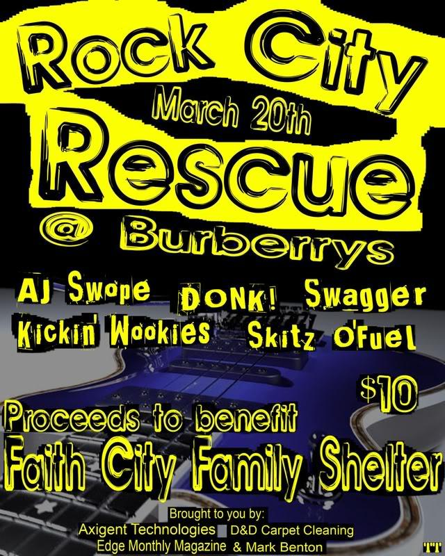 Flier for the first Rock City Rescue concert. Courtesy of Projectamarillo.com.