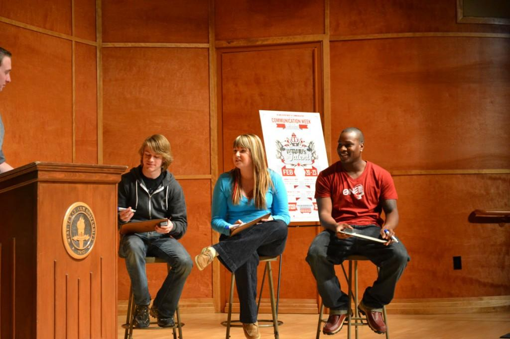 Contestants Austin Bagwell, Bekah Purl and Bryan Samuel compete to win a $25 gift card. Photo by Alex Montoya.