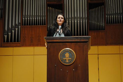 Liz Murray speaking at Mary Moody Northern Recital Hall during Comm Week. Photo by Lisa Hellier.