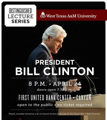 Poster for the Distinguished Lecture Series, featuring Former President Bill Clinton.