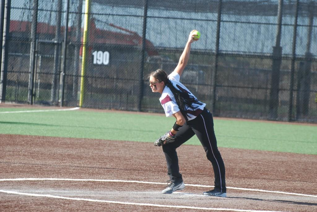 Marci Womack midpitch in game one. Photo by Melissa Bauer-Herzog.
