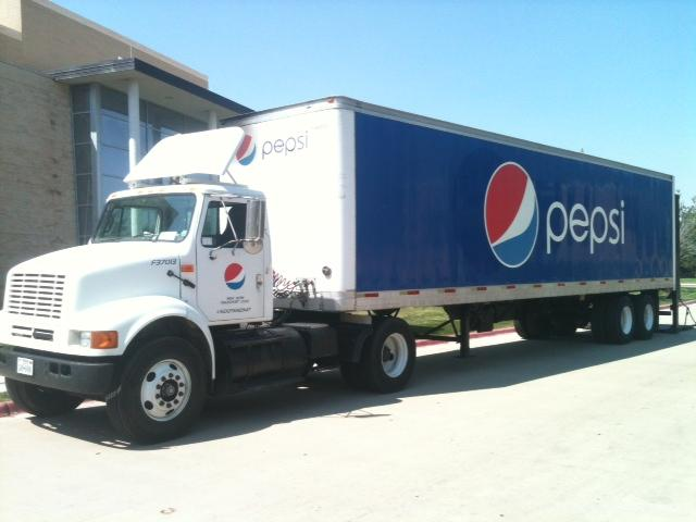 Pepsi trucks already begin rolling onto campus. Photo by Ashely Hendrick.