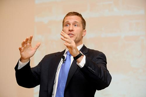Eric Greitens spoke to WT freshmen about courage and compassion. Photo courtesy of Kati Ricks - Communications Associate for the Greitens Group.
