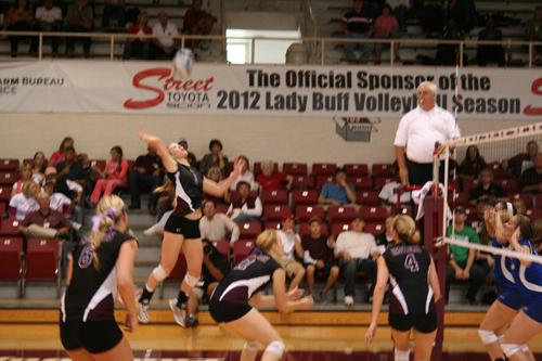 Junior Halie Harton sets to strike the ball back across the net. Photo by John Lee.