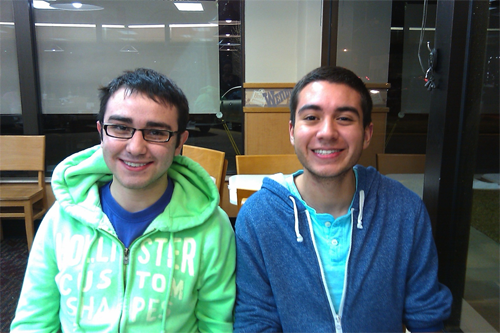 Roommates Victor Parra (senior) and Matthew Maolinar (sophomore) enjoy dinner at Wendy's. Photo by Rebekah St. Clair.
