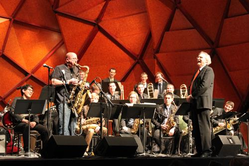 WT students perform with Jeff Coffin at the Amarillo Globe News Center for the Performing Arts. Photo by Juan Paiz.