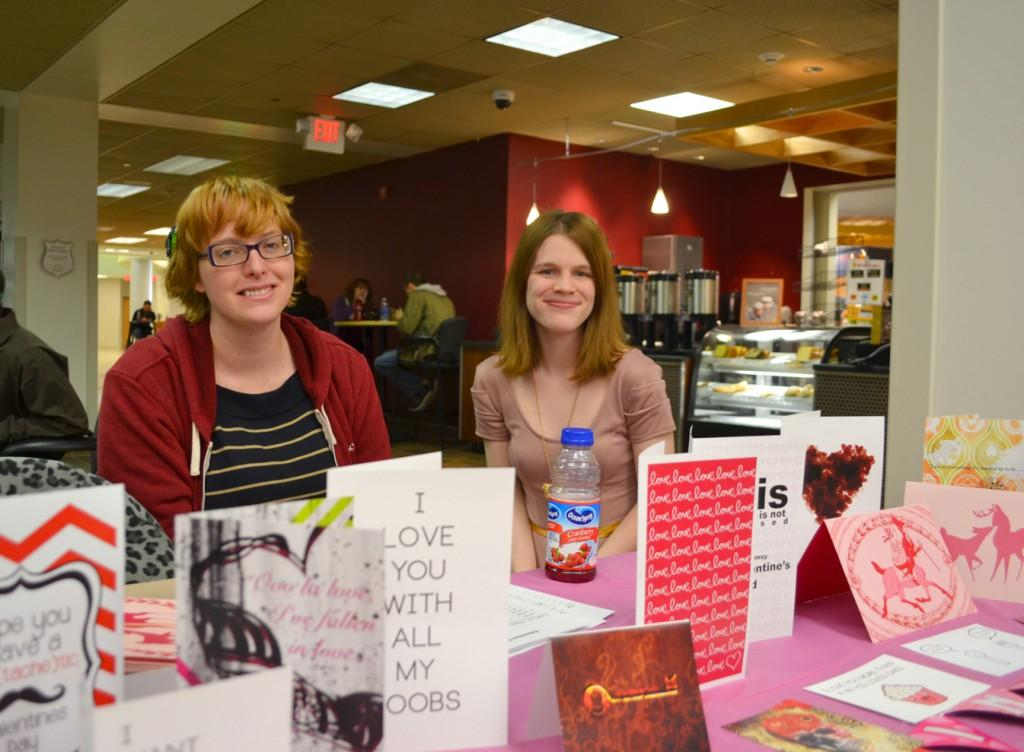 Co-Presidents Senior Kendra Barth and Junior Simone Pike sell custom made Valentine cards. Photo by Alex Montoya.