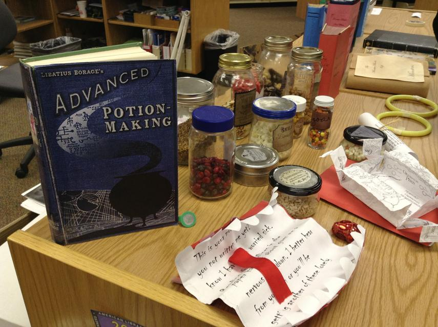 "Harry Potter paraphenalia displayed at ""An Evening at Hogwarts"" event. Photo by Daniela Fierro."