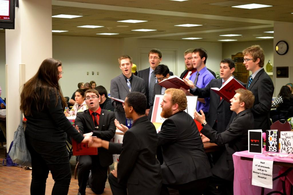 Phi Mu Aplha sang to sophomore Laurel Bowesox on Feb. 14 .