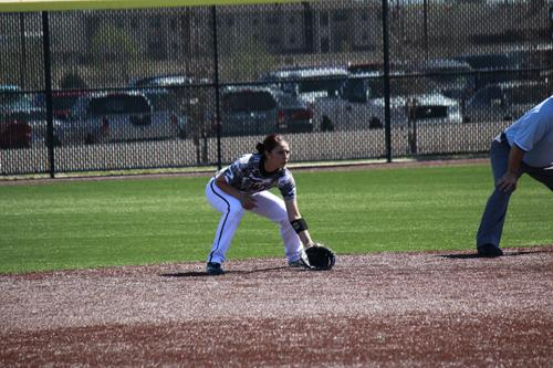 Mercedes Garcia prepares to field a groundball. Photo courtesy of Dameon Myers/WT Athletic Media Relations.