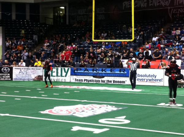 Raymon Johnson (number 3) and Alex Watson (number 11) look to receive the opening kickoff at the Venom vs. New Mexico Stars game at the Amarillo Civic Center. Photo by Tyler Anderson.