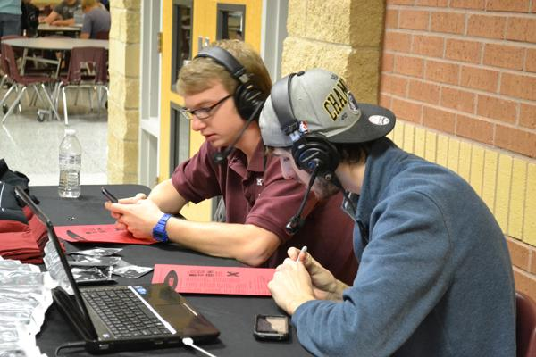 Junior Seph Stiles and Senior Travis Lubbe live broadcast at Canyon High School Wednesday morning. Photo by Alex Montoya.