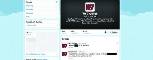 @WTCrushes had more than1,000 followers as of April13.