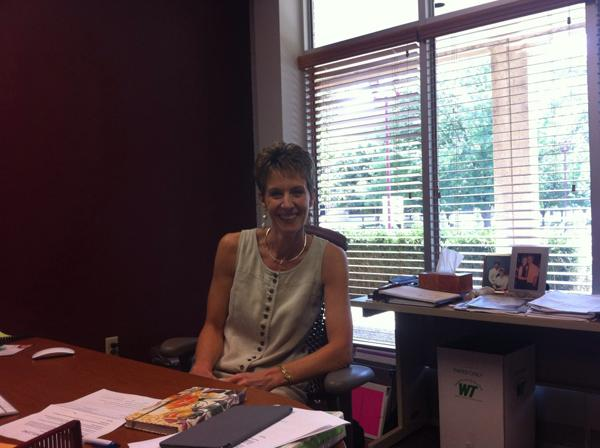 Dr. Eddleman seated at her desk. Photo courtesy of Tyler Anderson.
