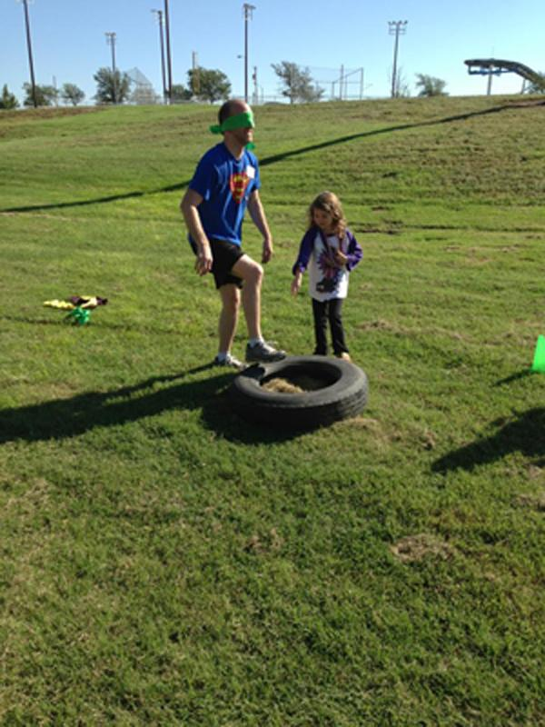 Klaehn and daughter navigate the 4th challenge.