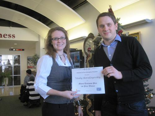 Vitaliy Skorodziyevskiy - 1st Place Winner of Moses Business Plan Competition with Erin Stodghill. Photo courtesy of Dr. Jean Walker.