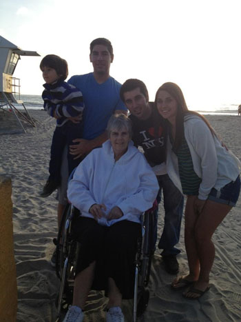 This photo was taken in San Diego, CA on Mission beach. This was mother's day weekend and was the last trip we would ever take with her, this was one of her last request. In this photo from left to right includes: Jayce 4 (Cades nephew), Michael 28 (oldest brother),Mom 49, Jeremy 26 (brother) and Mercedes 21. Photo courtesy of the Garcia family. Caption courtesy of Michael Garcia.