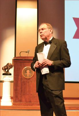 Dr. Harry Hueston opens for the banquet held on Friday. Photo by Alex Montoya.