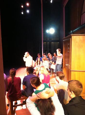 "Cast of Legally Blonde rehearses ""Blod in the Water"". Photo by Kati Watson."
