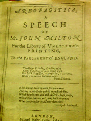 Areopagitica by John Milton is one work displayed.