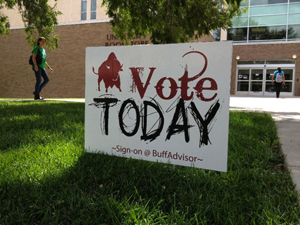 Sign encoraging students to participate in elections.