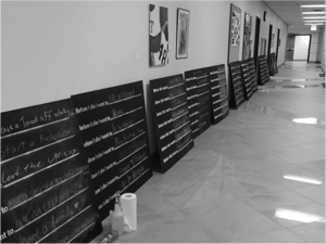 """""""Before I Die"""" boards set up in Mary Moody Northen Hall."""