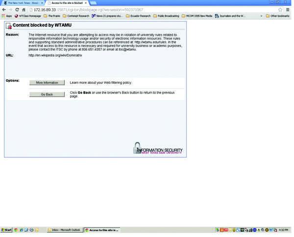 Screen shot of IT's blocked message.