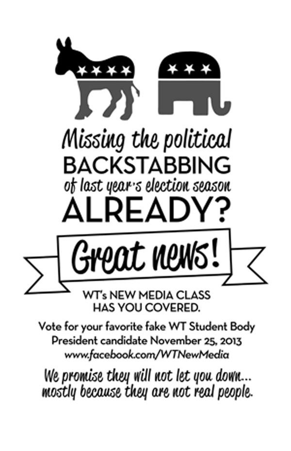 Flyer for the fake student body elections.