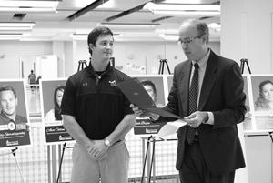 Steve Sellars of WT Career Services (right) recognizes Lakey. Photo courtesy of WTAMU.
