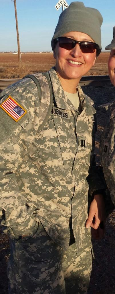 Nancy Turrubiates participates in a 6-mile ruck march with the Army.