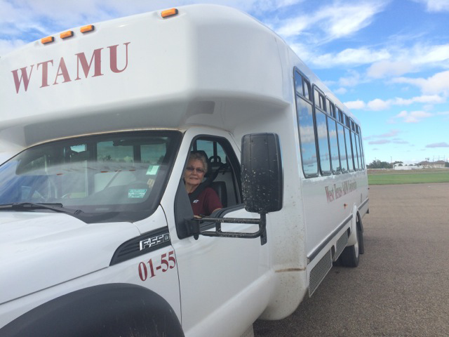 Elaine Brown drives the shuttle bus for the afternoon shift at WTAMU.