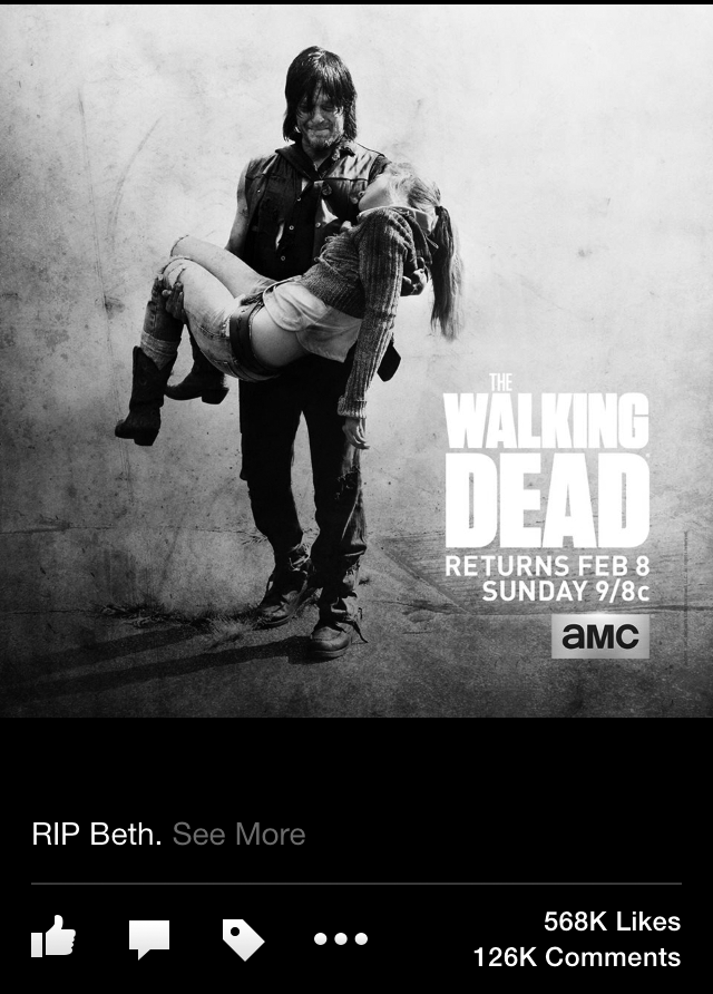 A screen shot from The Walking Dead's Facebook page shows the spoiler photo they posted.